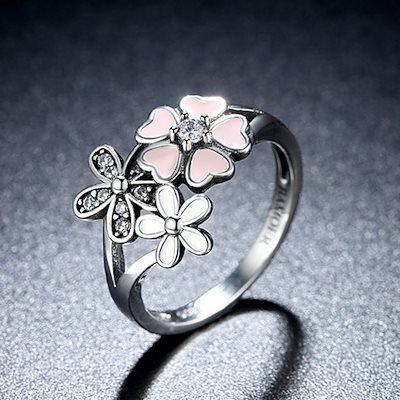 女性のステンレススチールダイヤモンド象嵌リング、桜の花模様