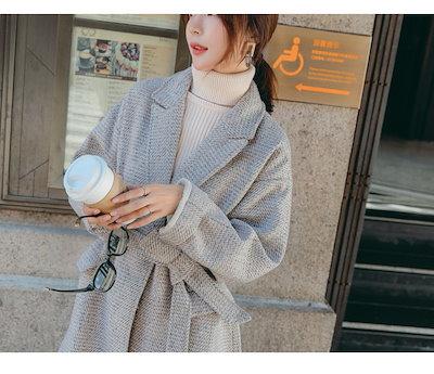 人気のお品 ヘリンボーン コート アウター ロングコート シンプル シングルコート 通勤 定番QA0282