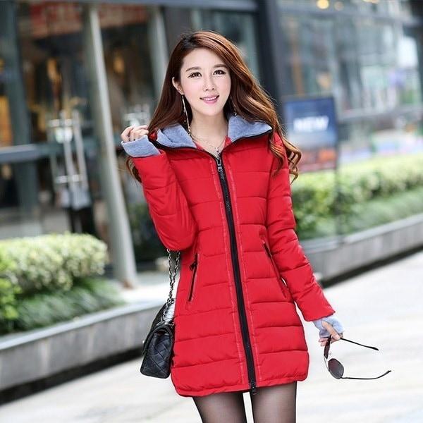 女性ジャケットスリムロングスタイルウォームダウンコートダウンサイズ5XL