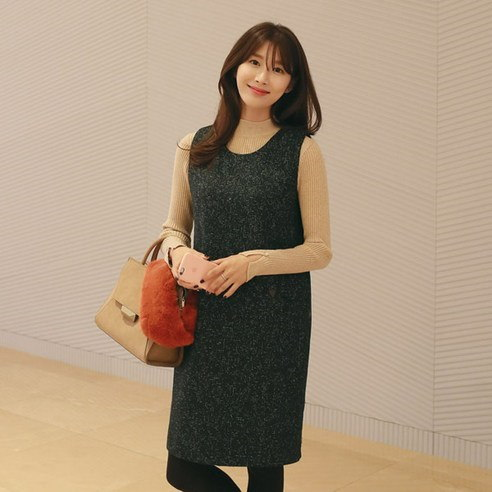 [ClicknFunny] Moana Wool One Piece Midi Dress (Knee Length) Korean fashion style