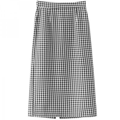 韓国ファッション 春 韓国 ギンガムチェック柄ロングスカート