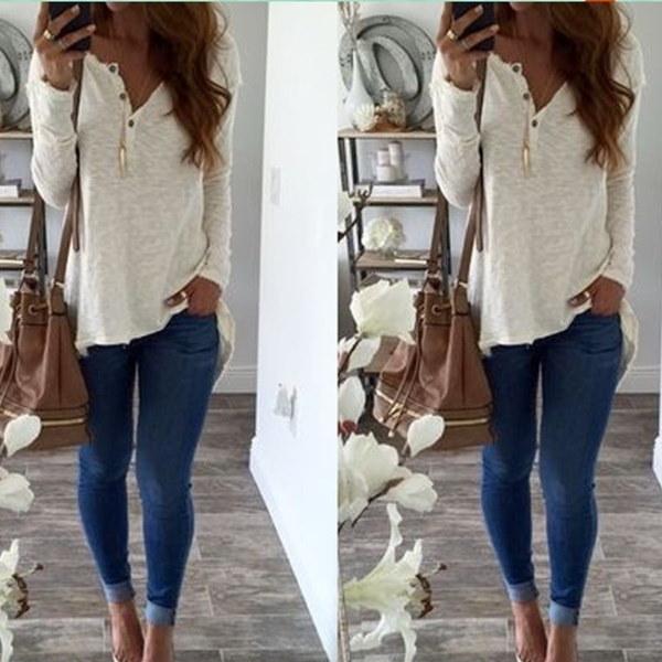 女性ファッションロングスリーブVネックカジュアルルーズホワイトTシャツ
