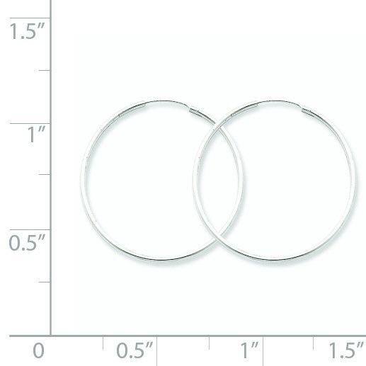 スターリングシルバー1.30mmエンドレスフープピアス(1.3インチ直径)
