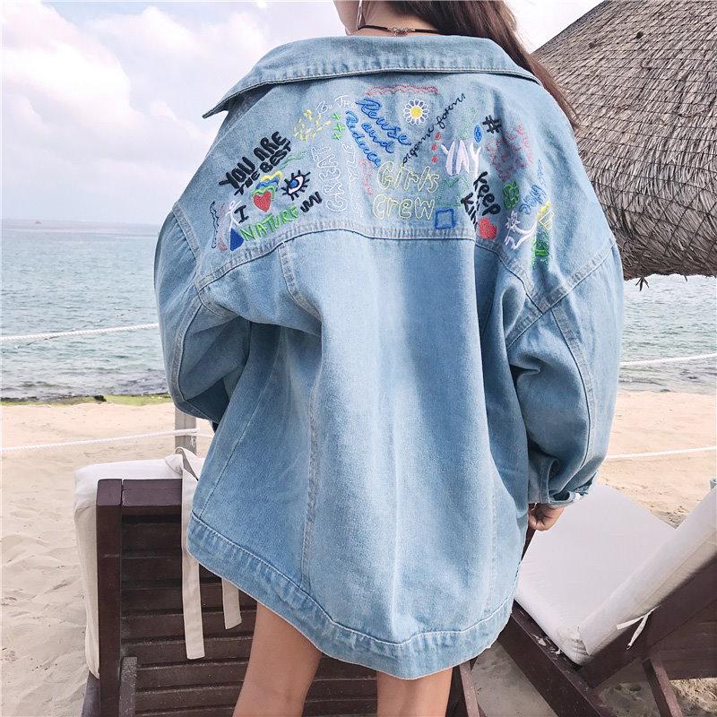 ファッション韓国 新作 刺繍ジャケット レディース ファッション デニムジャケット 刺繍  送料無料