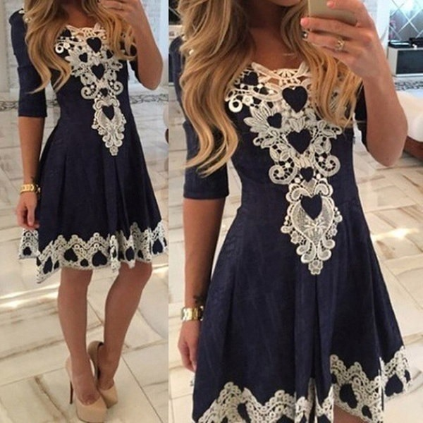 A-line Solid Dress Lace Vestidos