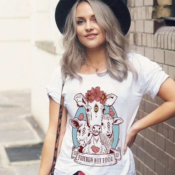 女性ファニービーガンシャツガールショートスリーブファッション女性コットンかわいいTシャツトップ