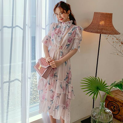 PPGIRL(韓国ファッション)♥送料 0円★PPGIRL_E060 rose Chiffon dress / long dress / Frill dress /  flower dress / Feminine mood /