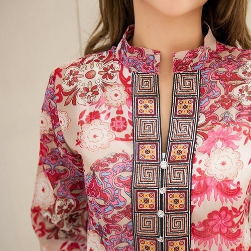 2016新しいスタイルの女性のスタイリッシュな夏韓国スタイルエスニックルーズシフォンブラウスTシャツ
