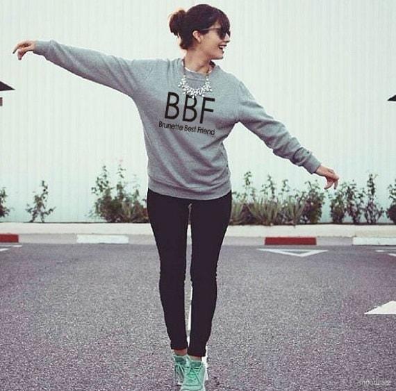 女性のパーカーブルネットのベストフレンドBBF BFFブロンドのベストフレンドプリント原宿のガールフレンドのスウェットシャツ