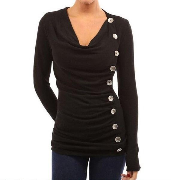 女性のファッションヒープカラーシングルブレストベーシックTシャツ秋の純粋なカラーコットンジャンパートップスメイト