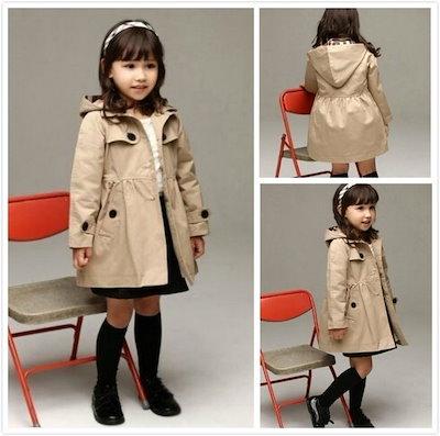 SOかわいい女の子シングルブレストフード付きウィンドブレーカー冬のコート2色4つのサイズ