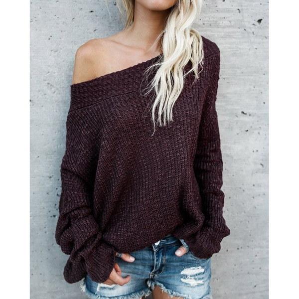 秋の女性のファッションロングスリーブルーズプルオーバーセータースラッシュネックセーター