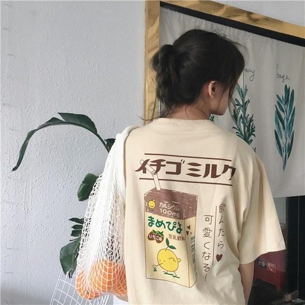 レディースガールズカワイイストロベリーミルクボックスグラフィックTシャツFairy Kei半袖ピンクギフト