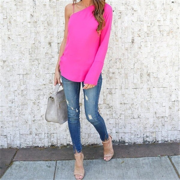 One-Shoulder Top Women Long sleeve Strappy Blouse Fashion Ladies Blusas