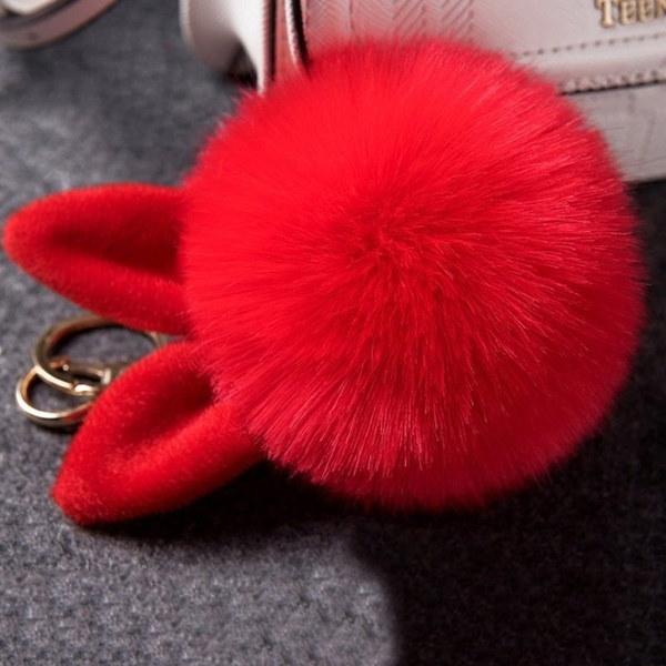 1pc柔らかいポンポンふわふわしたポーテクレフポンポムドゥフォーレール女性の女性ポンポンキーチェーンウサギの耳の毛皮のバラ