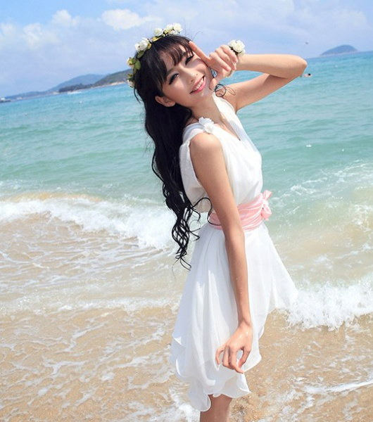 【即納】腰リボン付フレアーVネックミニドレス結婚式パーティー二次会Ibd-lf22
