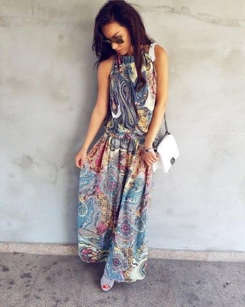 女性のファッションノースリーブサマービーチの花のドレスレトロBOHOマキシOネックロングイブニングパーティードレス
