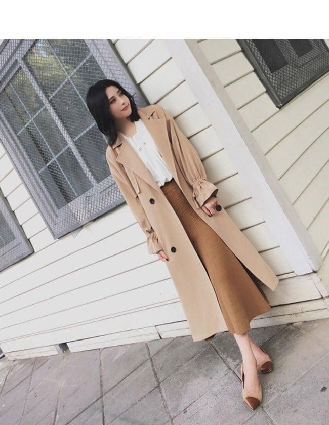 レディース服 女性 ファッション コート アウター トレンチコート ロング丈 秋服 ダブルボタン ゆったり 小さいサイズ 大きいサイズ エレガント 優雅