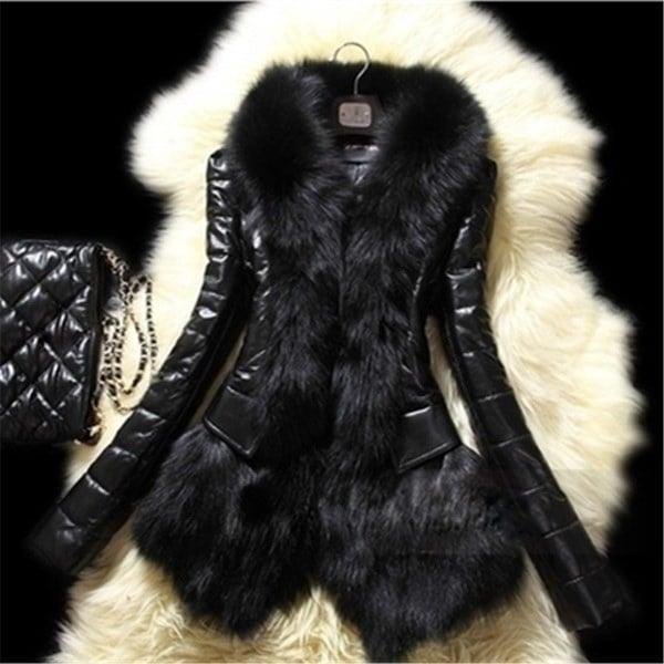 新しいスリム女性ウィンターフォーフォックスファー&シープスキンコートジャケットベストパーカーオーバーコート