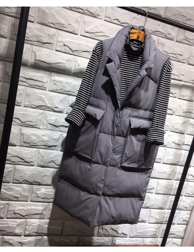 ダウンコート 中綿 ダウンベスト ロング レディース 韓国風 オシャレ 袖なし しっかりと厚手 ファッション ストリート風 ボリューム感 ブラック ホワイト グリーン グレー
