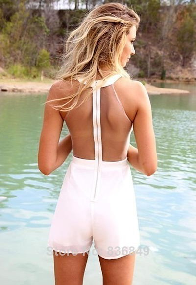 Newest Style Womens Sexy Jumpsuits White High Neckline Playsuit With Mesh Cutout Detail Mesh Sleevel