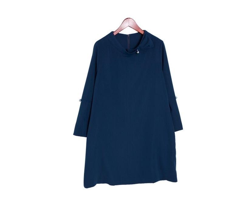 『韓国製』SELLISHOP  Pearl リボン ワンピース「大きいサイズ 大人 韓国 ファッション・結婚式・フォマール 黒 フレア 30代 40代 50代 スレンダー・Aライン,上品・ロング ミセ