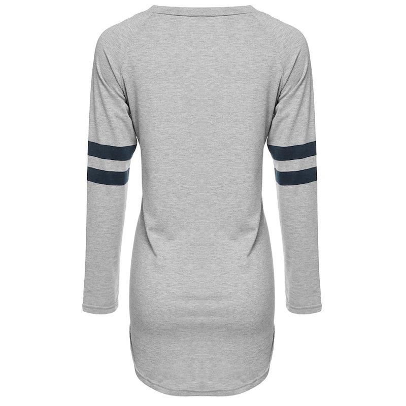 レディースカジュアルロングスリーブベースボールロングTシャツブラウス不規則な裾Tシャツ