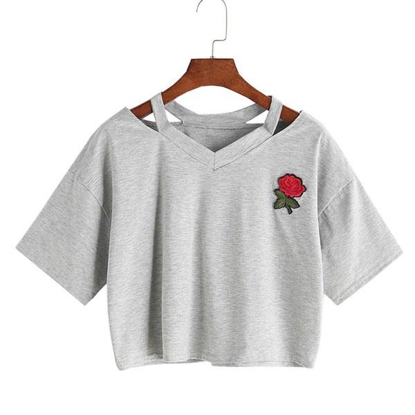 女性のカジュアルサマー刺繍ローズ半袖Vネックコットントップス女性のカジュアルなTシャツ