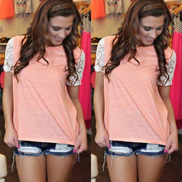 レディースファッション夏レース半袖ブラウスカジュアルタンクトップTシャツ