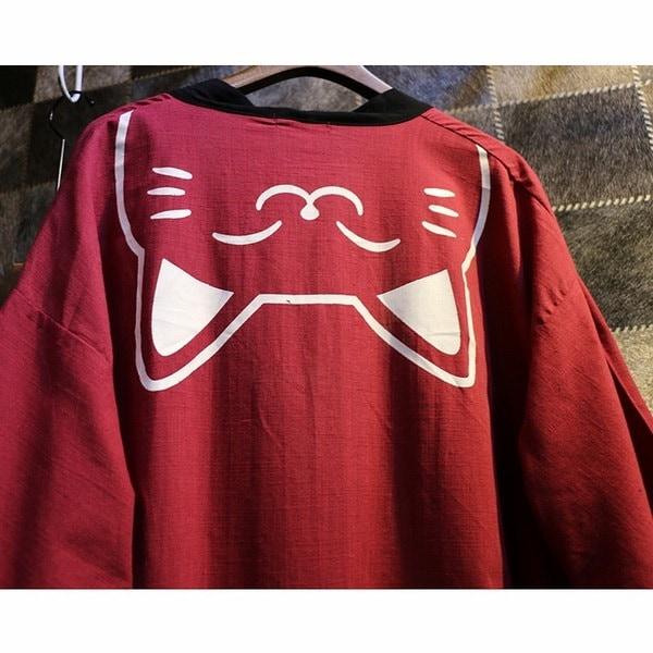 女性のルーズ日本の着物アウターウェアバスローブカーディガン猫カジュアルショールジャケットブラウス