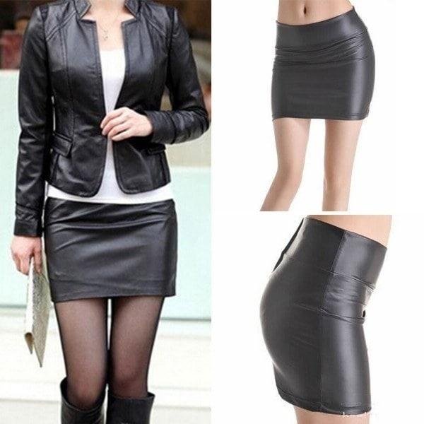 新しい女性のストレッチレザールックタイツジップミニスカートドレスプラスサイズS-3XL