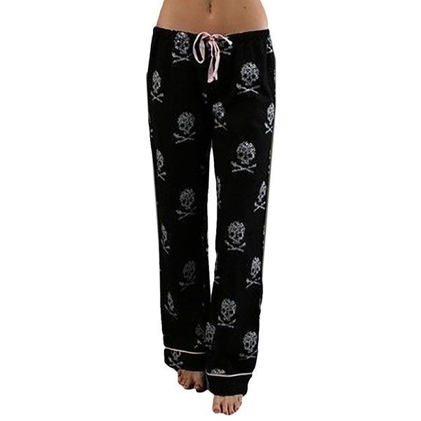 Women Fashion Loose Pyjama Trousers Light Skull Printed Casual Sleepwear Pajamas with Strap
