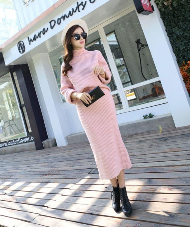 [全3color][2点SET]ニットセットアップ★ロングスカート ニットツーピースセット 暖かい女性ニットツーピース♥トップ+スカートSET♥ストレッチある高品質ルーズフィットニット あったか極暖♪