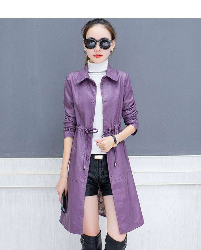 レディースファッション 女性 フェイクレザー 合皮 コート アウター ロング丈 紫 レッド ブラック ひも 着痩せ 個性 ハイウエスト 裏起毛