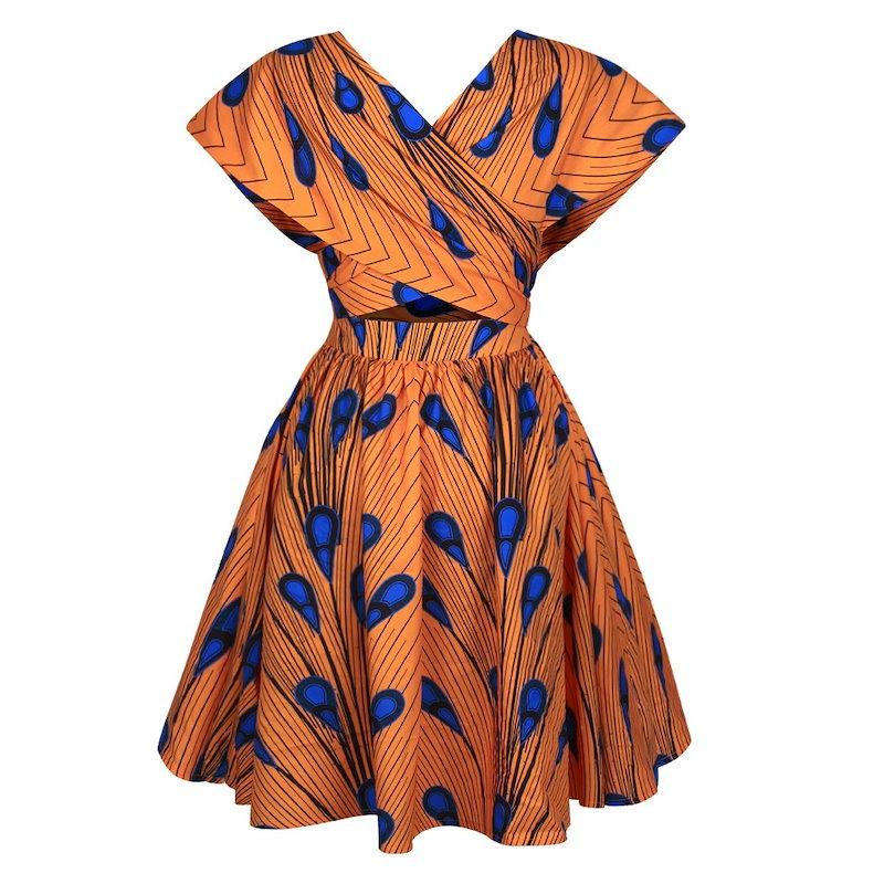 ファッション孔雀の羽パターンデジタル印刷包帯ドレス