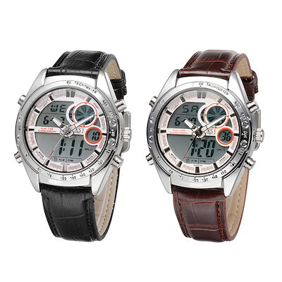 ASJ Men s Business Sport Military Wrap Wrist Quartz Watch Dual Japanese Movement Analog Digital Dis
