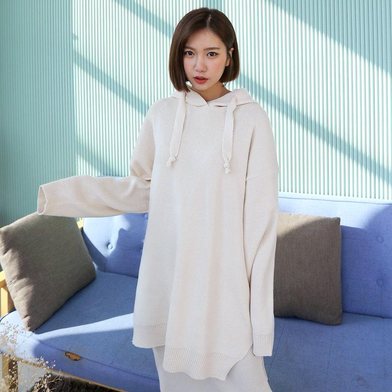 ♥送料 0円★PPGIRL_B357 Casual hood knit / long knit T shirt / casual knit / loose fit knit top / hoodie