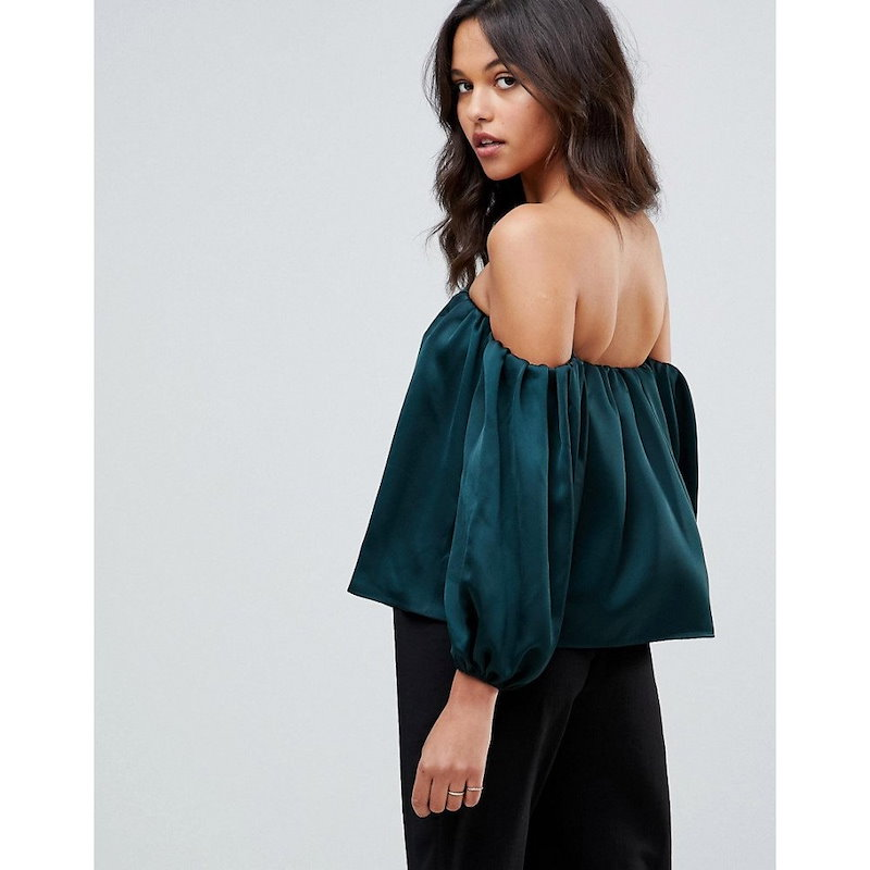 エイソス レディース トップス オフショルダー【ASOS Satin Off Shoulder Top with Balloon Sleeve】Forest green