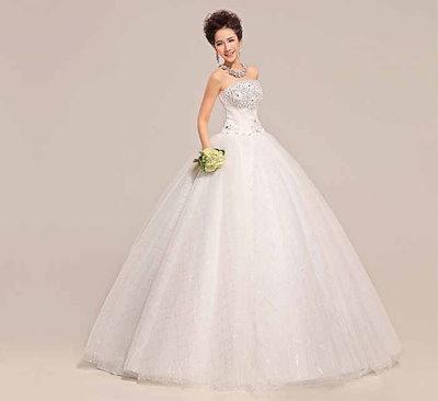 スキニー ウェディング?ドレス 韓国風 スイート 水晶 バックレス ベアトップ 上品 花嫁礼服 XCQD60