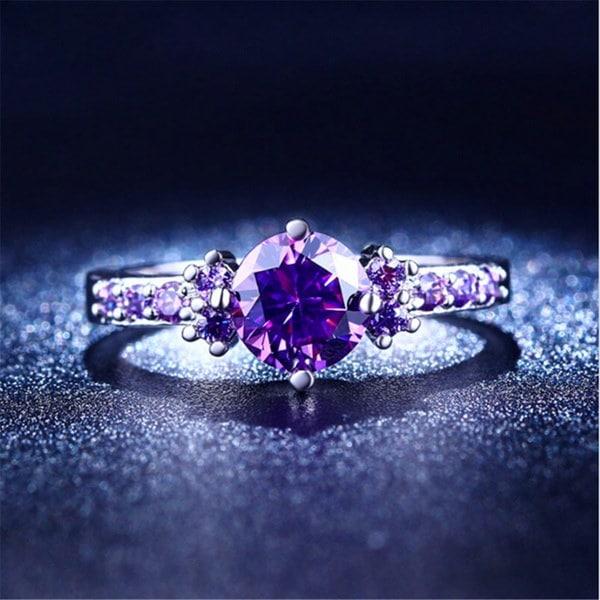 2017新しい紫の愛アメジストCZダイヤモンドジュエリーファッション結婚式のアクセサリークリスタルリング