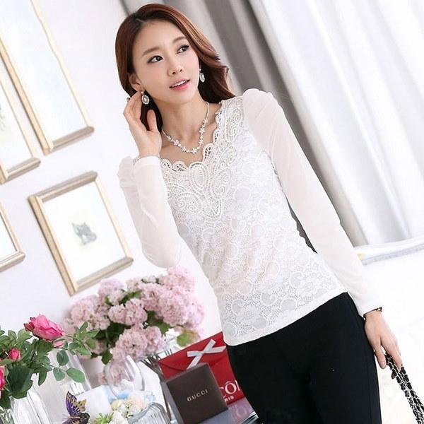 プラスサイズXS  -  4XLレーストップス秋冬インナーファーTシャツ女性韓国ファッションVネックスリムブラウス