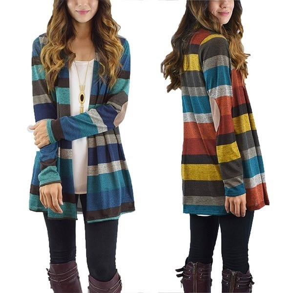 Fashion Women s Casual Open Front Striped Patchwork Cardigan