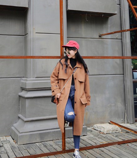 45678(韓国ファッション)可愛い♪シングルブレストコート ロングコート