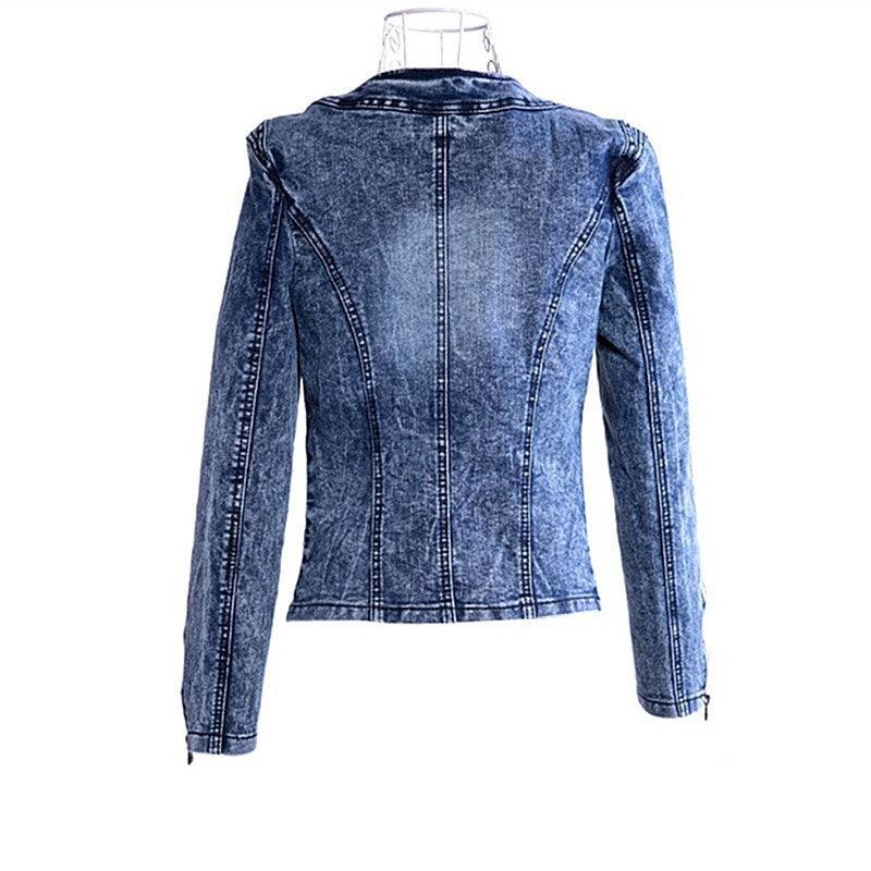 ヴィンテージジーンズのコート女性の秋/冬のラインストーンジャケットのトップスパンクの女性のウォッシュドデニムジャケットコート