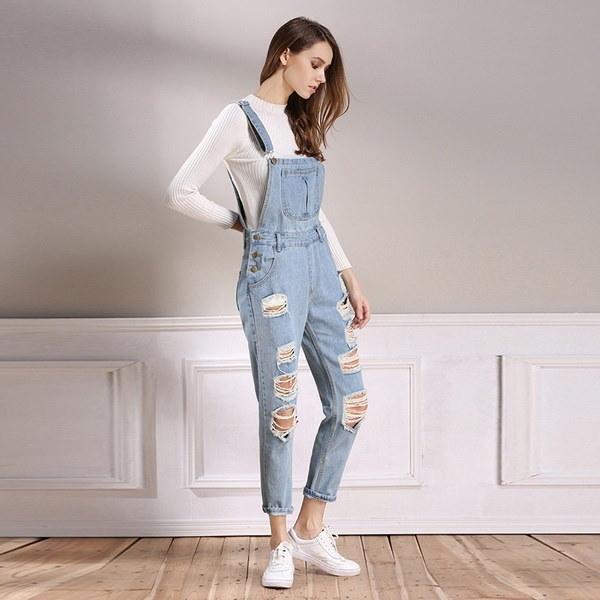 Women Denim Jumpsuit Jeans Denim Pants Overalls Autumn Casual Broken Hole Pants Jumpsuit