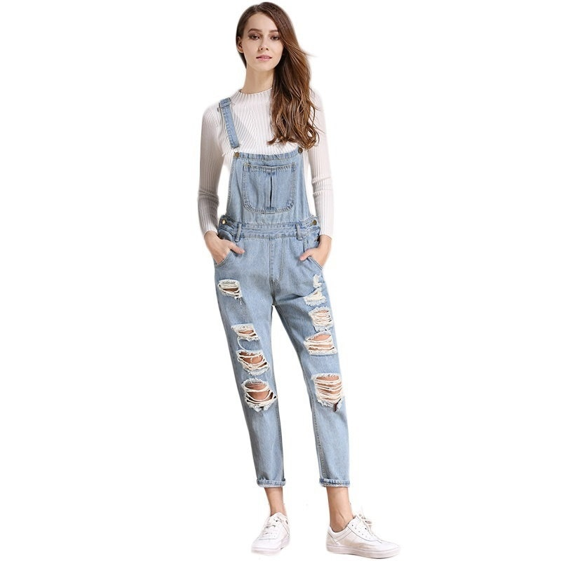 Women Denim Jumpsuit Jeans Denim Pants Overalls Autumn Casual Broken Hole Pants Jumpsuit