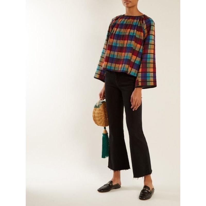 エース&ジグ レディース トップス ブラウス・シャツ【Farrah gathered-neck checked cotton blouse】Multicoloured