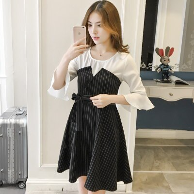 (FS-JAN-012) 春の新型の韓版女装気質 シフォンスプライスストライプワンピース
