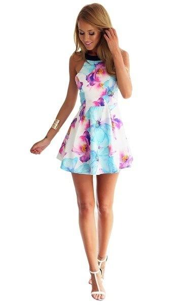 女性夏ラブリーフラワープリントノースリーブミニスカート甘いデートビーチサンドレス