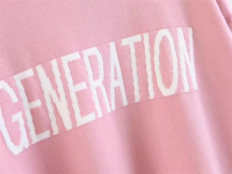 グリーン、ピンク 字母ジャカード ラウンドネックニット 長袖  トップス  伸縮  ニットウェア  セーター クルーネック レディース